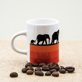 Elephant Family Espresso Coffee Mug with African Wild Animals Wildlife.
