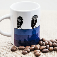 Blue Owl Espresso Coffee Mug Aztec style design Insomniacs Nightowls