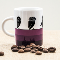 Purple Owl Espresso Coffee Mug Aztec style design Insomniacs Nightowls