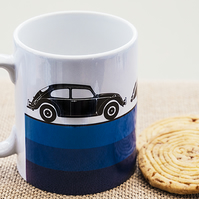 Blue Vintage Retro Cars Coffee Mug for Car Fans.