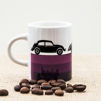 Purple Vintage Retro Cars Espresso Coffee Mug for Car Fans.