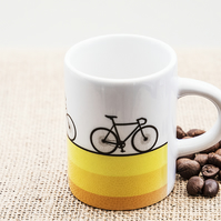 Cyclist Bicycle Espresso Coffee Mug Cycling Fan Penny Farthing Tandem Road Bike