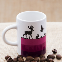 Woodland Animals Espresso Coffee Mug for Nature and Countryside Lovers