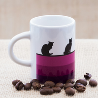 Purple Cat Lovers Espresso Coffee Mug Kittens Kitty Pet Animal Lover Animals