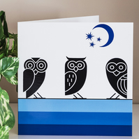 Owls Blank Greetings Card 6 inch 15 cm square modern Aztec style graphic design
