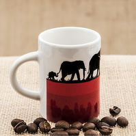 Red Elephant Family Espresso Coffee Mug with African Wild Animals Wildlife.