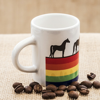 Rainbow Horse Espresso Coffee Mug for Horse Riders and Lovers with Stallions