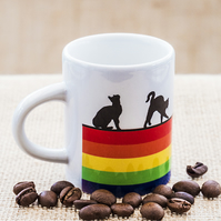 Rainbow Cat Espresso Coffee Mug for Cat Kitty Kitten Lovers