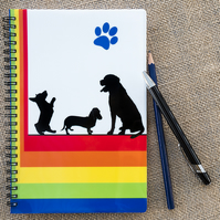 A5 Spiral Bound Rainbow Dogs Notebook Notepad Wipe Clean Durable Cover