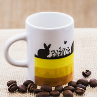 Yellow Hares and Rabbits Espresso Coffee Mug for Nature and Countryside Lovers