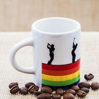 Rainbow Golfers Espresso Coffee Mug for Golfing Fans, Enthusiasts and Players