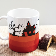 Orange Halloween Coffee Mug for Samhain - Gothic Black Cats, Witch, Spooky House