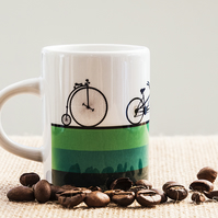 Green Bicycle Espresso Coffee Mug Penny Farthing Tandem Road Bike