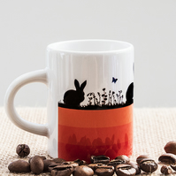 Orange Hares and Rabbits Espresso Coffee Mug for Nature and Countryside Lovers