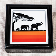 Graphic Elephant Family Jewellery or Keepsake Box - Gift for Wildlife Lover