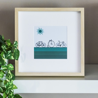 Bicycles Cycling Bikes Framed Print Graphic Modern Picture Wall Art Illustration
