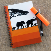 A5 Spiral Bound Lined Elephant Lover Notebook Notepad Wipe Clean Durable Cover
