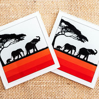 Glass Elephant Family coaster silhouettes orange stripes African safari animals