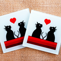 Glass cat coaster square silhouettes red heart stripes gift for cat lover