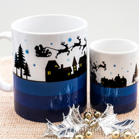 Blue Xmas Themed Coffee Mug - Father Christmas Eve Santa Sleigh Reindeer Houses