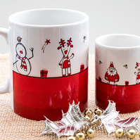 Humorous Xmas Coffee Mug - Father Christmas Santa Reindeer Snowmen fun cartoons