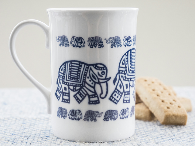 Fine Bone China Mug with Elephant design inspired by Indian woodblock prints.