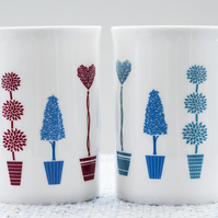 Fine Bone China Mug with container shrubs or trees in pots - gift for gardeners!
