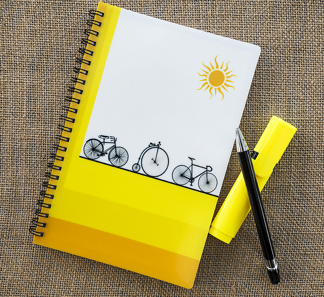 Bikes Bicycles Cycles Notebook A5 Spiral Bound Lined Wipe-Clean Acrylic Cover