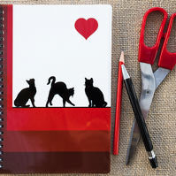 Cats Posing Heart Red Notebook A5 Spiral Bound Lined Wipe-Clean Acrylic Cover