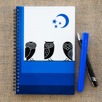 Owls Night Sky Blue Notebook A5 Spiral Bound Lined Wipe-Clean Acrylic Cover