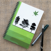 Woodland Trees Green Notebook A5 Spiral Bound Lined Wipe-Clean Acrylic Cover