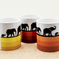 Elephant Family Coffee Mug with African Wild Animals Wildlife for Nature Lovers.