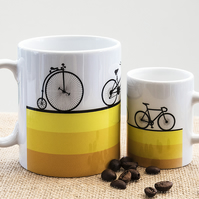Bicycle Coffee Mug Gift for Cycling Fan Cyclist Penny Farthing Tandem Road Bike