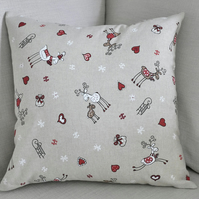 "Reindeer Xmas Cushion Cover 18"" inch Christmas theme neutral colour scheme"