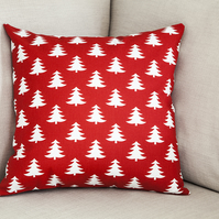 "Xmas Trees Cushion Cover 18"" inch Christmas theme red white Scandinavian"