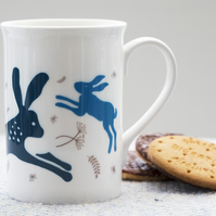Fine Bone China Mug with leaping hares inspired by Indian woodblock prints.