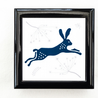 Leaping Hare Jewellery or Keepsake Box - Gift for Wildlife Lover