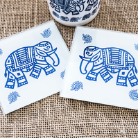 Glass Indian Elephant Coaster Wood Block Printing Inspired Gift for Animal Lover