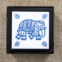 Indian Elephant Jewellery or Keepsake Box - Gift for Wildlife Lover