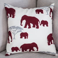 "Elephants Cushion Cover 16"" inch African Safari Animals Elephant Family Baby"