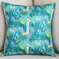 "Jungle rainforest giraffe sloth square 16"" 40cm 16 in cushion cover child's room"