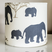 20cm round table-lamp lampshade elephants baby elephant family Africa  African