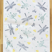 Hand printed dragonflies and bees tea towel housewarming, nature lover gifts