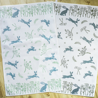 Hand printed leaping hares tea towel wedding, housewarming, nature lover gifts