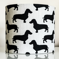 20cm round drum table-lamp lampshade sausage dogs dachshunds dog lovers gifts