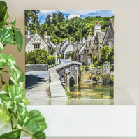 Castle Combe quaint pretty English Cotswold village Blank Greetings Card summer