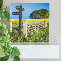 Yellow Rape Field Blank Greetings Card footpath sign farm gate landscape summer