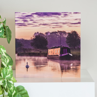 River Thames Blank Greetings Card sunrise houseboat narrowboat canal boat swan