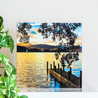 Lake District Blank Greetings Card Windermere lake landscape sunset sailing boat