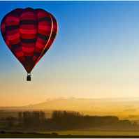 Red Hot Air Balloon sunset English countryside landscape view - Free UK Postage!